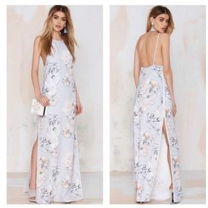 Finders Keepers Check The Rhyme Floral Grey maxi